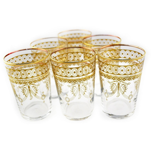 For a smaller but just as bold splash of Morocco buy these Berber Gold Moroccan Hand-painted Tea Glasses for $44.49. I can just see myself now... pouring a vodka tonic in to one now!