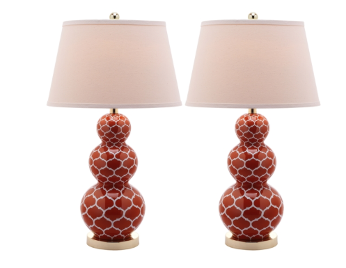 Moroccan Triple Gourd 1-light Orange Table Lamps (Set of 2) $224.99 *come in Navy and Green as well These would be perfect to add Moroccan flair on an end table or even on a bedside table.