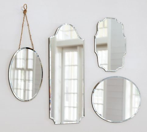 Eleanor Frameless Mirrors from Pottery Barn ranging from $79-$99. Would be a perfect way to start a mirror collage without having to scour yard sales!