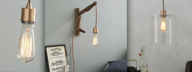 This light fixture is a combination of elements for West Elm's lighting department. The first is the Edison-Style Lightbulb ($15) paired with the West Elm Cord Set ($29-39) in Copper and the Lens Glass Shade for $29. All together this light fixture would cost around $75. These would be insanely perfect hanging above a countertop island or a bar.