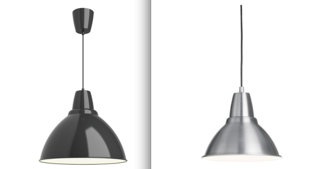 These are two different FOTO Pendant Lights from IKEA [dark gray and aluminum] for only $19. Pair them with an Edison-Style Light bulb from West Elm and you have a really classic look with some character.