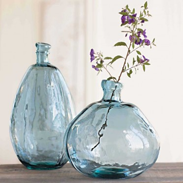 These beautiful RECYCLED glass vases are such great accents. These are VivaTerra's Recycled Glass Balloon Vases retailing at $139 (for the set of two). Love.