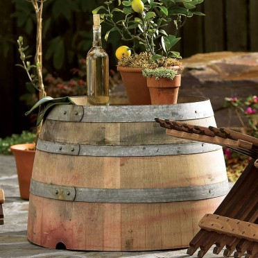 This Pinot Nior loving lady can't resist anything wine related. This is VivaTerra's Wine Barrel Outside Table retailing (a true steal) for $149.