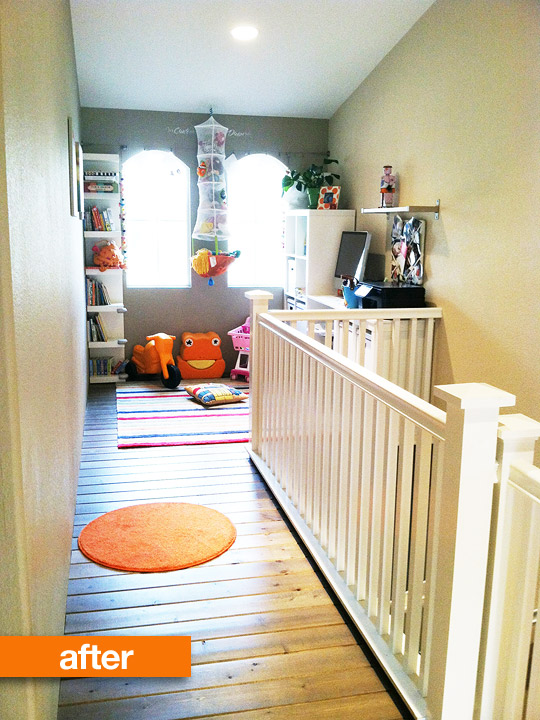 AFTER! Isn't this an amazing use of space! A little play room for kids and an office space. Now for me (and my future town home) this would be an office/reading area. Love love love.
