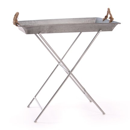 This is a standing tray option! The Rectangular Galvanized Metal Tray with Stand by the Skalny Basket Company on Amazon for $149.99.