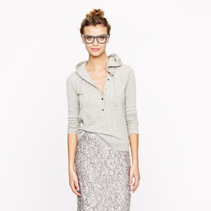 Cashmere. Snuggle up in this fantastic J.Crew Cashmere hoodie... how luxe.