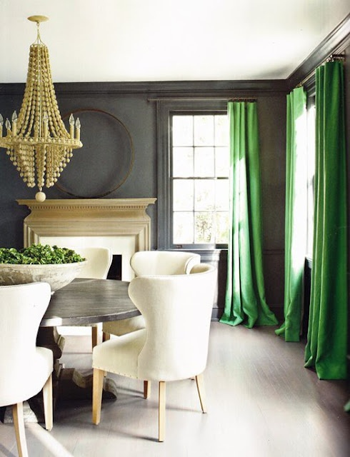 Curtains can be used as a pop of color in a room. I love this bright green contrast against a room focused in neutrals.