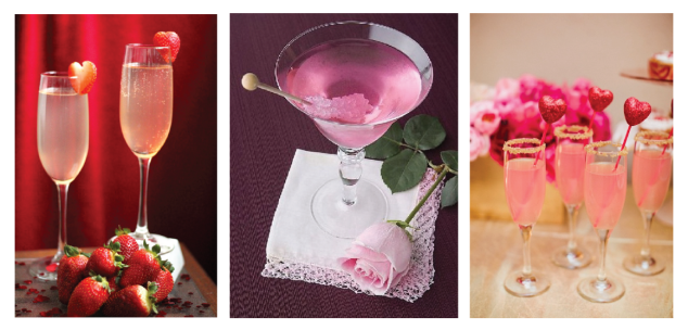 ACCESSORIZE! Use cute drink accessories to make a cocktail more festive. Pink Rock candy, or strawberries cut like hearts. Pink Pixie stick dust would be perfect  to rim glasses with!