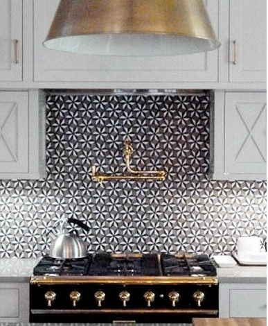 Again more neutrals with ornate tile background. I need to do more research on tile uses! Love.