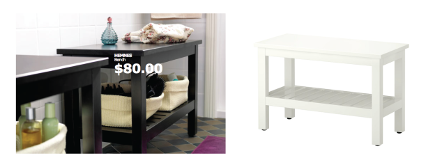 Add seating and storage with the HERMNES bench from Ikea for only $80!