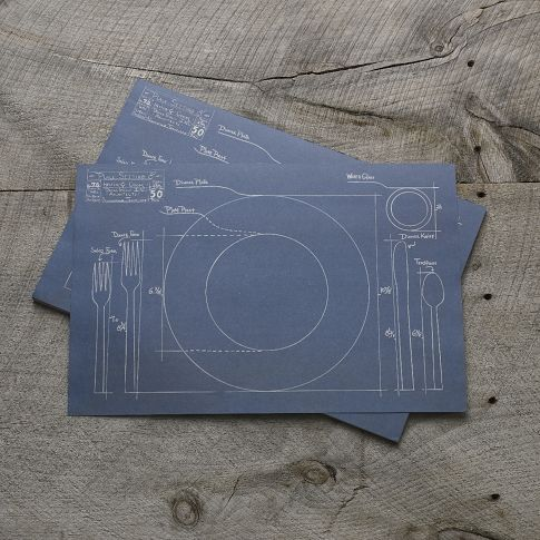 Cake Kitchen Paper Placement- Blue Print currently on sale for $23.00 (for 50 one time use placemats) in West Elm's Market section