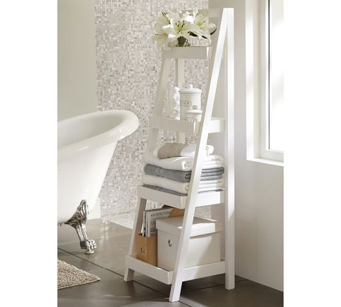 A great bathroom storage option is the Floor Standing Ladder from Pottery Barn for $199. This also is available in a wood tone as well.