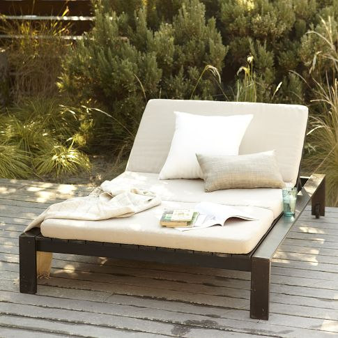 SPEND: this is the wodden slat double lounger from West Elm for $549. This is an item I would definitely splurge on for my outdoor space!