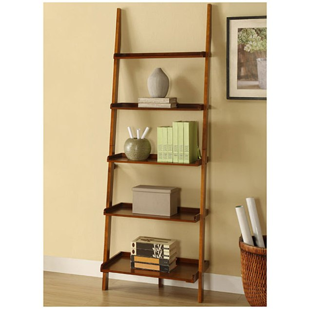 BARGAIN ALERT. This is the Mahogany Five Tier Leaning Ladder Shelf from Overstock.com for only $83.99! Love. the color and the price!