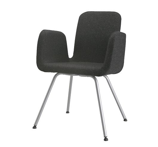 This is the PATRIK chair from Ikea for $149.99. Also available in the swivel version (if thats your style) for $199.99. This looks comfy and stylish! The perfect combination for late nights of blog posting!