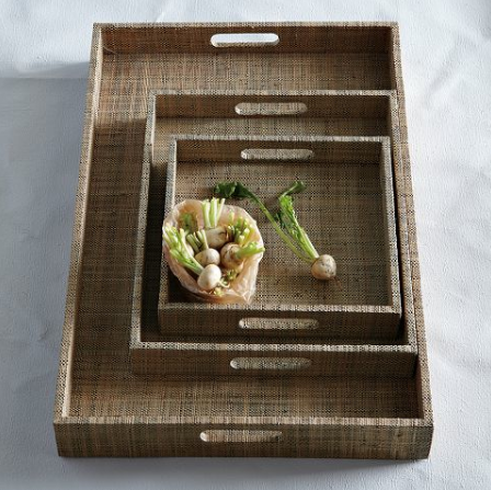 "This is the Raffia Trays from West Elm. I recommend the 18"" x  28"" for a great bar tray for only $59!"