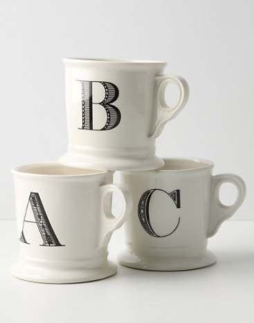 and Monogrammed Mugs from Anthropologie for only $6 each!