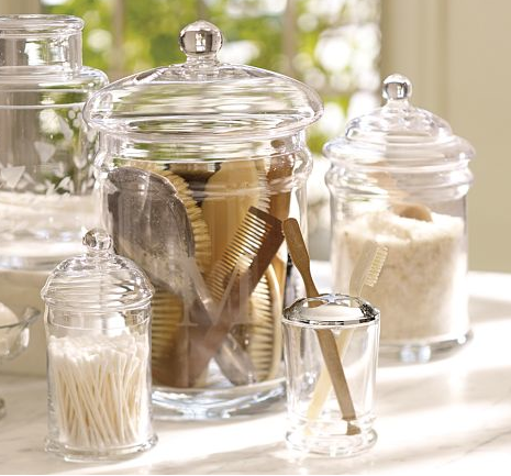 Organize your counter tops with Pottery Barn's Classic Glass Canisters. These add a little style to otherwise ordinary household objects and range from $19 to $44.