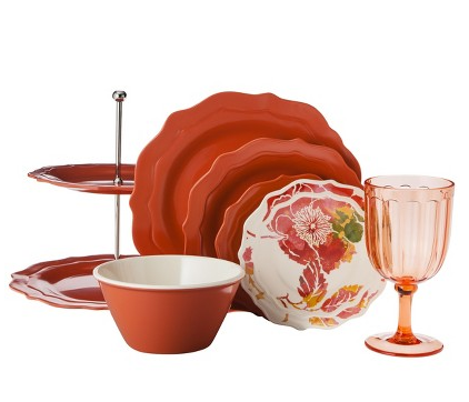 SAVE: This is the Scalloped Coral Collection from Target. Sets range from $14.99-34.99 and are ACRYLIC. Perfect for outdoor dining because they are plastic, easily clean, and perfect for around the pool.