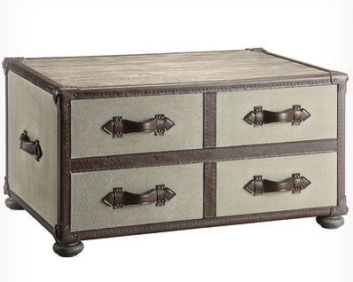A great rustic option from Wayfair.com... This is the Stein World Urban Natural Beacon Hill Trunk Coffee Table for $539.99. Perfect for a vintage bedside table look and if you ever change decor can double as a coffee table! Love.