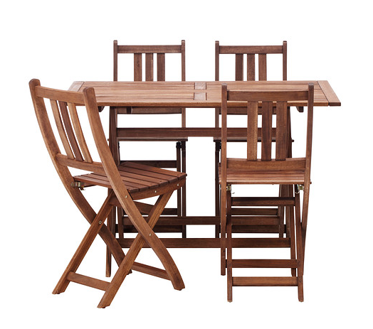SAVE: if you're looking for more seating and less price... here is the BOLLO table and chair set from Ikea for only $125.99. This would be perfect for a petite patio where you want to entertain company!