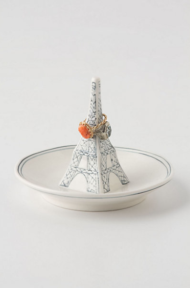 If you're just a simple jewelry gal then this Eiffel Tower Ring Dish from Anthropologie (only $12) is perfect for your nightstand or by the sink in your bathroom!