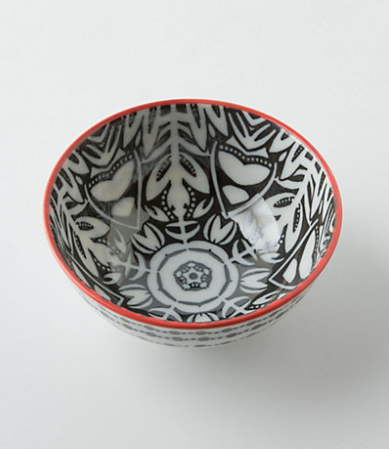 If you have a little bit more space, try filling one of your dresser drawers with these cute bowls from Anthropologie to store your jewels. This is the Atom Art Bowl (in Balck Motif) for only $8.