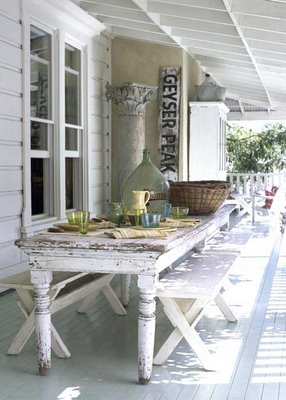 a new way for outdoor dining. in love with this idea on a wrap around porch!