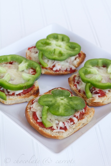 Perfect for lunch! Four leaf clover pizza bagels! Love these!