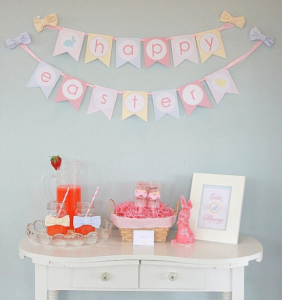 love the wall decorations! and bows around mason jar cups?... love.