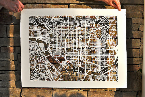 Here is what StudioKMO is most known for... the paper cut maps! This is her Washionton DC map for $600