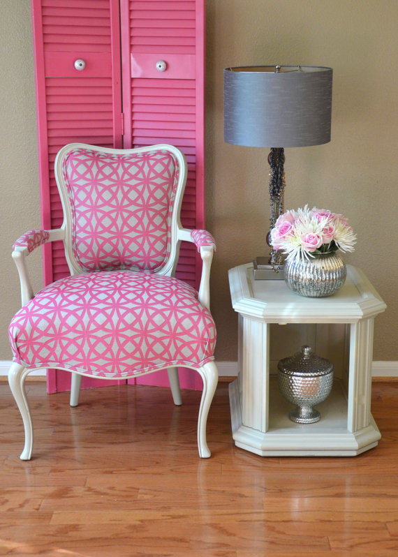 Louis Style Arm Chair Upholstered in Pink from Parsons Parlour Etsy shop for $525