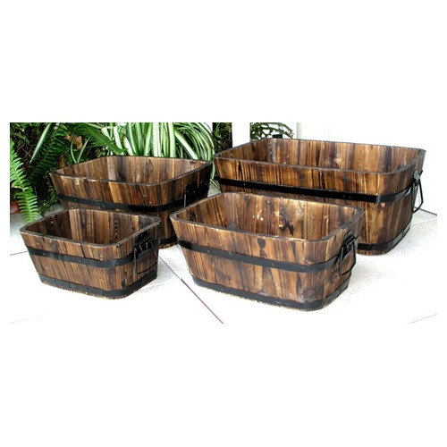 for a more rustic look check out the Shine Company Inc. Rectangular Cedar Barrels in Burnt Brown (set of 4) on wayfair.com for $152.99