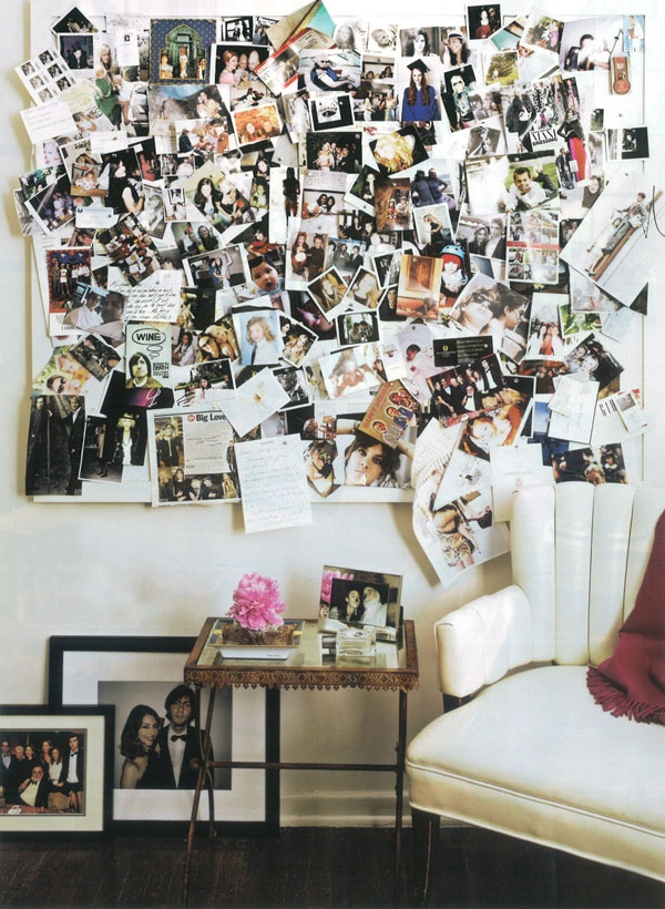 or even photo collages or collections of postcards hanging on a board