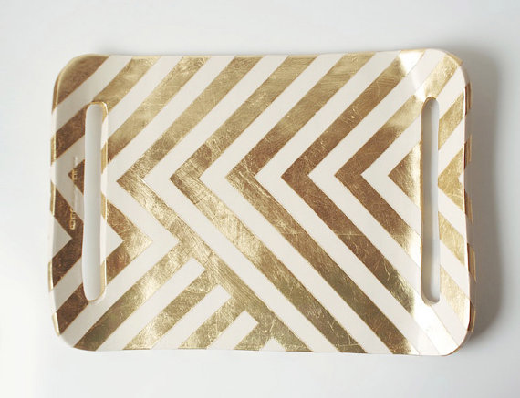 I am OBSESSED with this hand gold leafed chevron-inspired tray is only $98 from Up In The Air Somewhere's Etsy shop