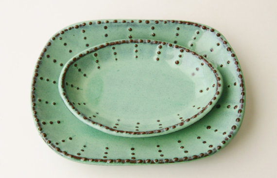 These plates are from another Etsy shop, Back Bay Pottery, and are $19.95 each! Love these for serving!