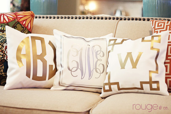 and you definitely can't forget about my favorite thing of all.. Monograms. Try these amazing Metallic Monograms for $50 from Rogue & Co's Etsy shop!