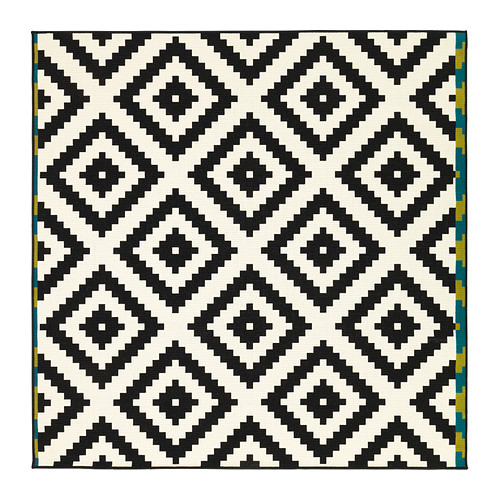 LAPPLJUNG RUTA RUG. Its a low pile rug with a bold print! I have been obsessed with this rug since it came out in the Ikea catalogue!