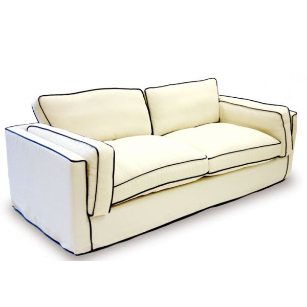 White sofa with blue contrast piping! South Beach Sofa by Armen Living for $1,299 (currently on sale) at Madison Seating