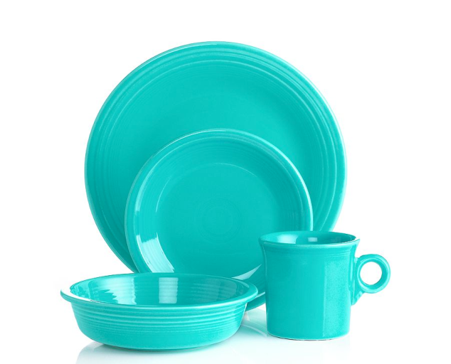 While I am still collecting I like to supplement my unique dinnerware with some bright colored basics like these turquoise settings from Fiesta Ware at Macy's (on sale right now for $29.99 a place setting!)