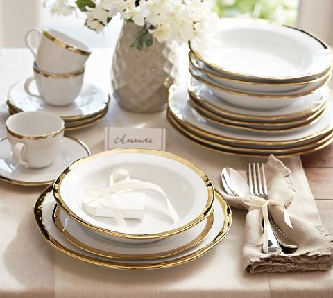 For a gold touch during the holidays or any occasion calling for a beautiful tablescape here is the Caroline Dinnerware in Gold on sale at Pottery Barn from $72-$279