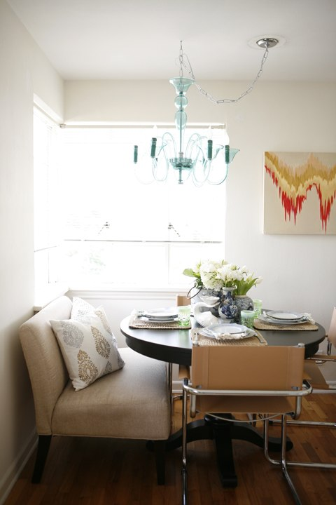 Beautiful breakfast nook set up. Perfect for a sunday morning reading the paper and enjoying some french toast!