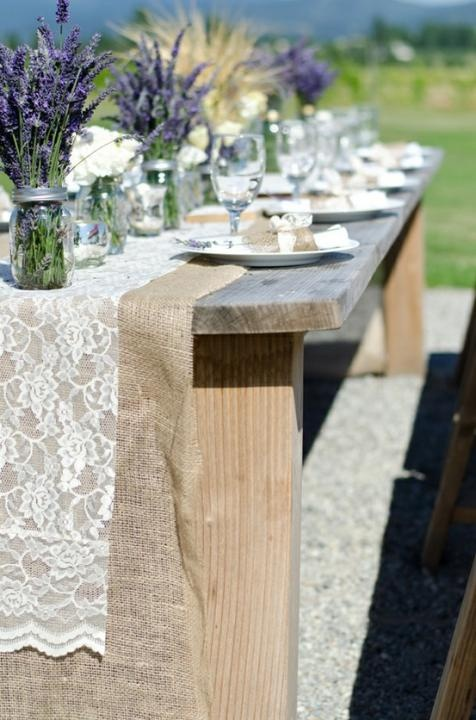 I love a little stock lace from the fabric store paired with burlap for a great table runner at a party. such a romantic touch