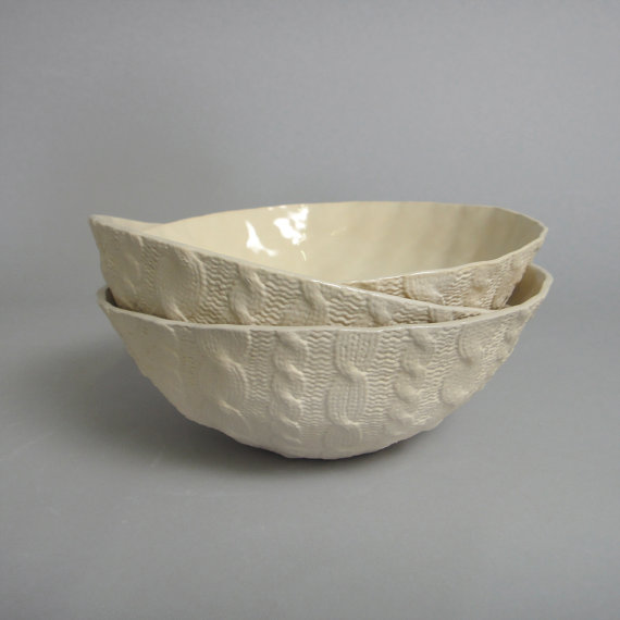 Knitwear Ceramics! This is a great Etsy studio called Reshape Studio! These bowls are on sale right now for $43 each! There are plenty of different knitwear ceramics to chose from as well!
