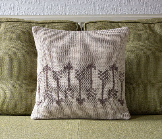 This an Arrow Pattern Knitted Decorative Cushion from Knit Frekkles's Etsy shop!  This pillow cover sells for around $64