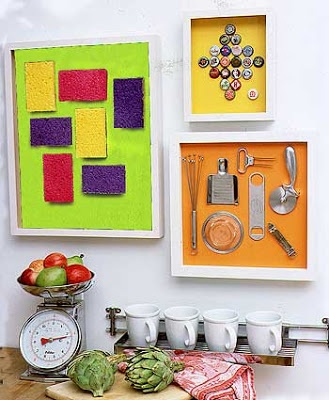 Such unique decorations for your kitchen. I love the framed stainless steel kitchen tools.