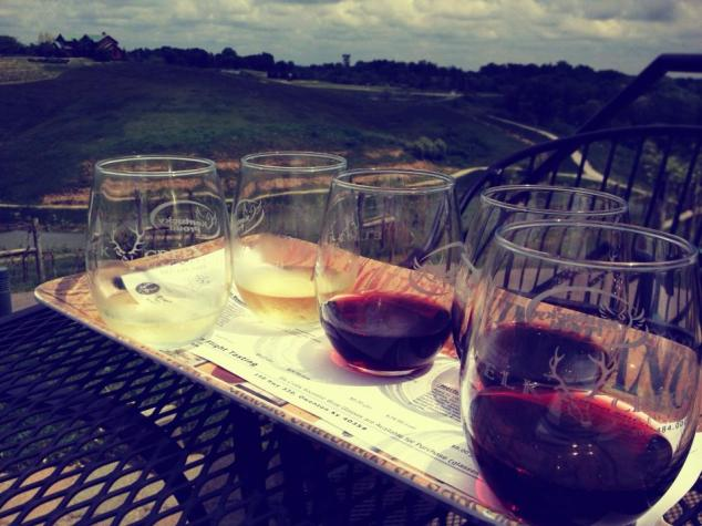 Our wine flight! Highly recommend their deluxe wine flight... you get to taste the largest variety of their highest quality wines!