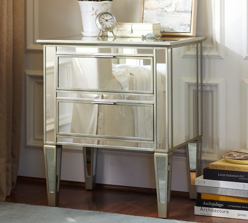 This beauty is the Park Mirrored Bedside Table from Pottery Barn. This is an online exclusive for $339 each. Hellooo... perfect to recreate this look!