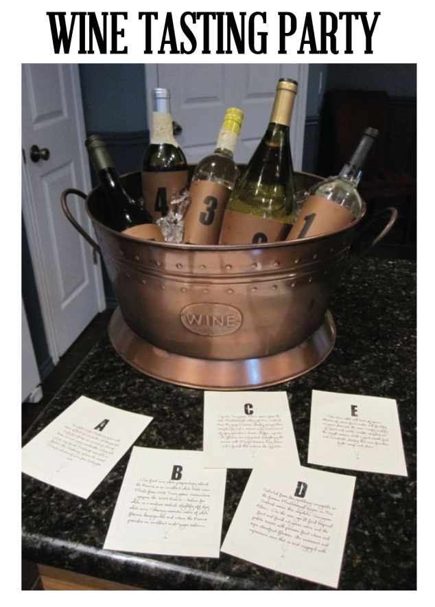 This is my favorite idea for a wine tasting party! If you have friends that really know their wines try this out! Take a few of your favorite bottles of wine and cover the labels, and number them. Then have corresponding cards describing the wine and mark those with letters. Have your guests try all the wines and guess which one is which! Definitely a great way to start a night full of wine drinking! I am going to try this soon!