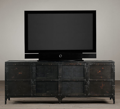 Industrial Tool Chest Media Console from Restoration Hardware, prices ranging from $1595-1795